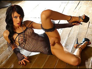Beautiful shemale porn star posing on the wooden floor