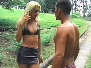 Blonde teen tranny Dany has a chance meeting with a guy on the street