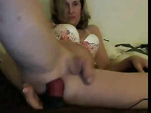 Stroking my dick and playing with my ass